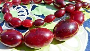 MéThodique Ancien Collier Vintage Perles De BakÉlite De Couleur Ambre Cherry De 44 Gr Limpide à Vue