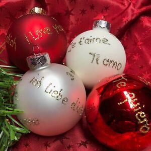 Glaskugel 6 cm  Ich liebe Dich - I love you Weihnachten Souvenir Christbaumkugel