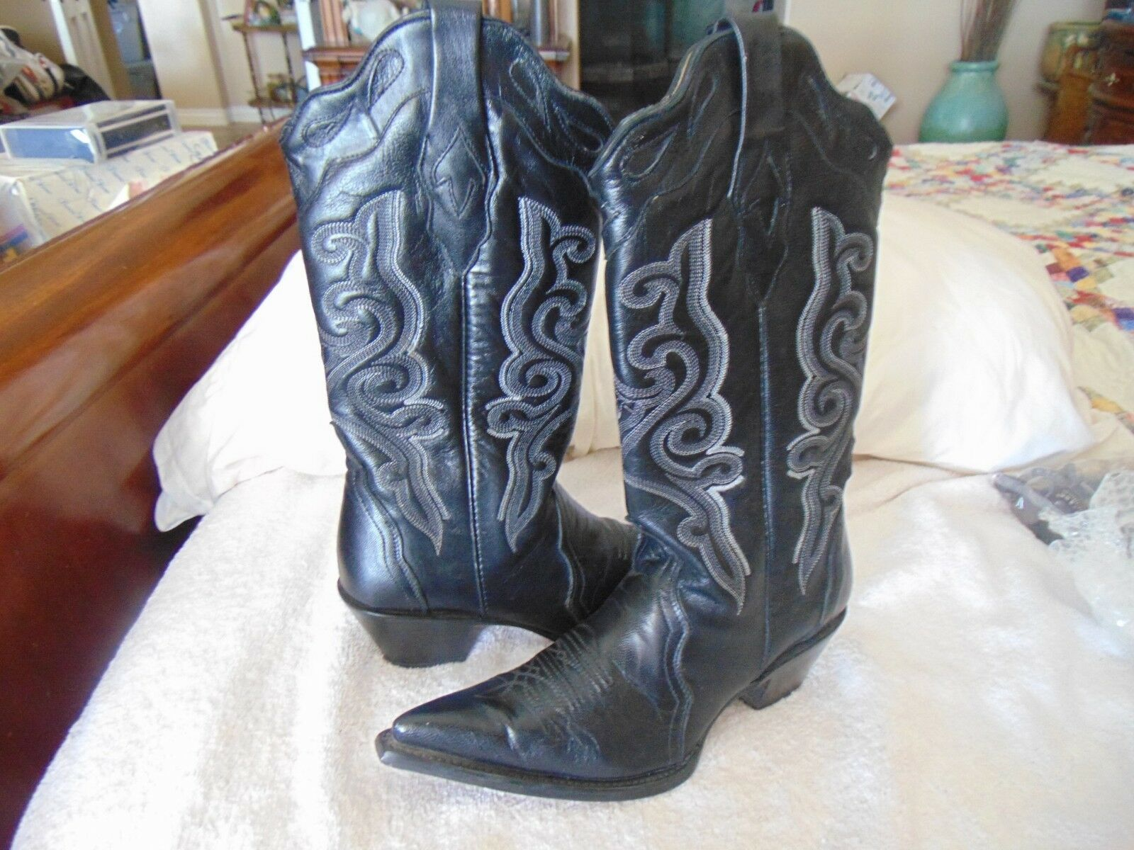 Corral Ladies Western Cowgirl Rodeo Boots Black Goat Leather 1922 7 M $299