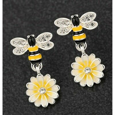 Equilibrium Silver Plated Hand Painted Bee /& Flower Drop Earrings