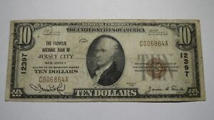 10-1929-Jersey-City-New-Jersey-NJ-National-Currency-Bank-Note-Bill-12397-FINE