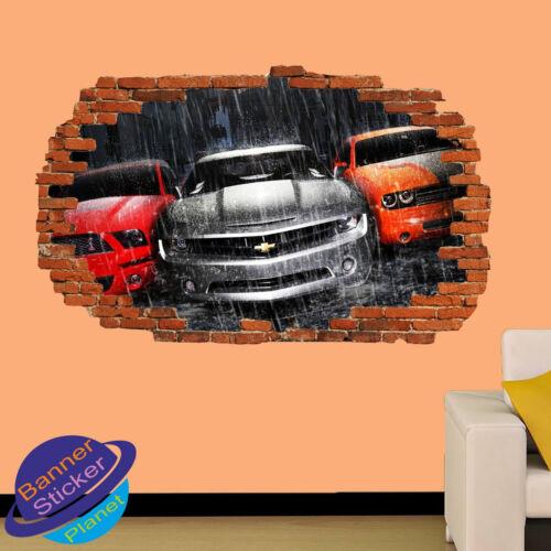 Muscle sport voitures pluie epic 3D smashed autocollant mural chambre décoration autocollant murale