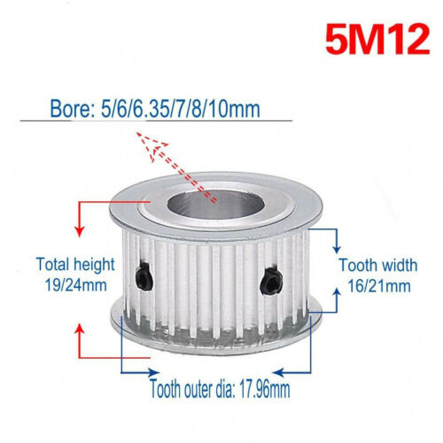 Aluminium Alloy 5M 12T-60T Timing Belt Pulley for 15//20mm Width Belt