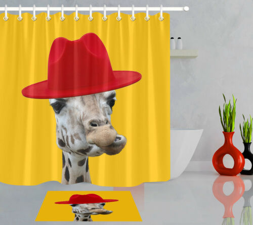 Funny Giraffe with Red Hat Shower Curtain Liner Bathroom Polyester Fabric Hooks