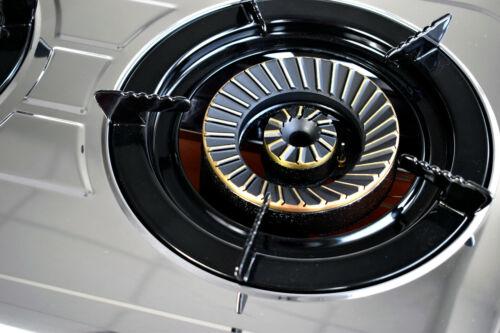 Acciaio Inox Fornello a Gas 2 Fuochi da Campeggio 7,6 Kw Turboflamme Propano