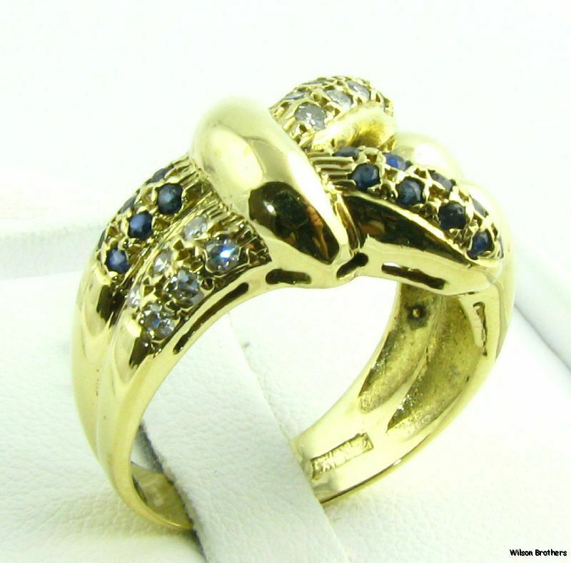 18k Solid  yellow gold sappphire - diamond Weding Ring