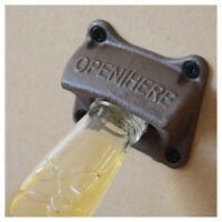 Home Vintage Metal Bottle Beer Opener Opening Tool Wall Mounted Hanger +4 Screws