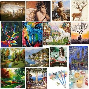 DIY-Acrylic-Paint-By-Number-Kit-Angels-Deer-Scenery-Oil-Painting-Home-Decor-New
