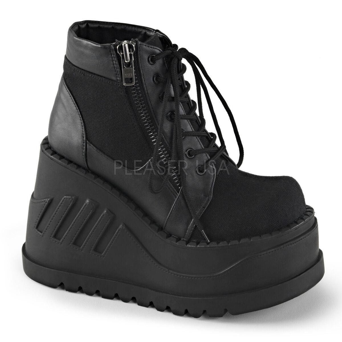 DEMONIA STO10 BCA-VL Womens' Black Wedge Platform Goth Gogo Dancer Ankle Boots