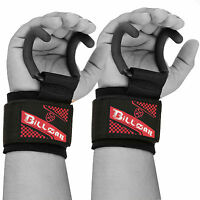 Heavy Duty Neoprene Weight Lifting Rod Hooks Padded Wrist Wraps Power Lifting