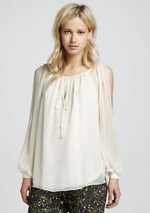 Haute Hippie  Split Shoulder Long-Sleeve Silk Blouse Top Tunic, Größe S