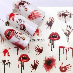Nail-Art-Water-Decals-Stickers-Transfers-Halloween-Blood-Hands-Vampire-Lips-3158