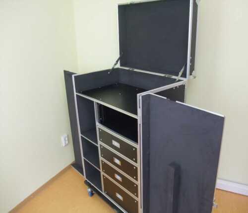 Schubladencase DPC-1 mit Tisch Hardwarecase Transportcase Roadiecase Toolcase