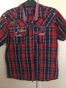 Friends-Denim-Co-Ltd-Short-Sleeve-Button-Shirt-Mens-Checked-Size-XL-Extra-Large