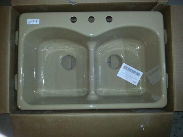 KOHLER Langlade Double-Basin Drop-in Enameled Cast Iron Kitchen Sink  6626-3-33