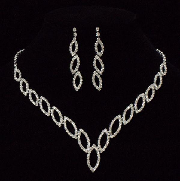 Fashion Wedding Bridal Crystal Necklace Earring Prom GP Silver Jewelry Set