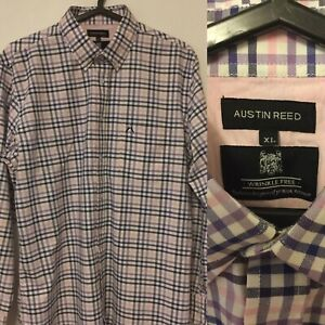 Austin Reed Mens Shirt Xl Cotton Wrinkle Free Check Blue Pink Purple White Ebay