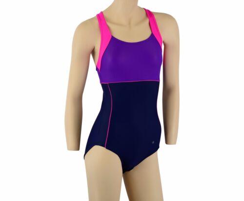 ACCLAIM Bordeaux Ladies Girls Strap Back Swimming Costume Swim Suit 20/% Lycra