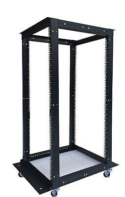 32u Rack 4-Post Adjustable Open Frame Server Rack IT Network FREE Casters
