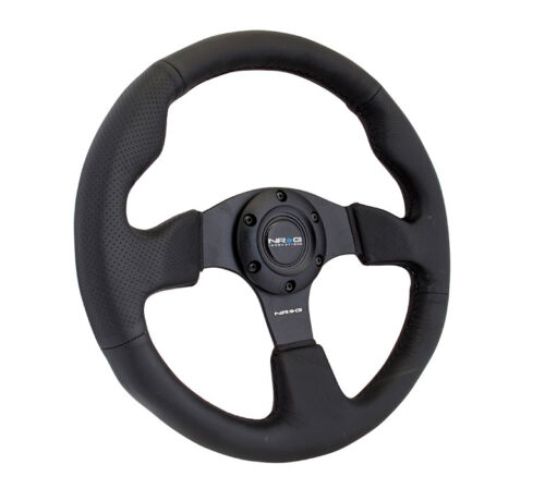 NEW NRG Race Style Steering Wheel Black Leather with Black Stitch 320mm RST-012R