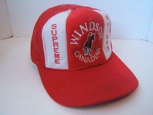 3687a0e65d7 Windsor Canadian Supreme Whisky Hat Vintage Red White Snapback Rope ...