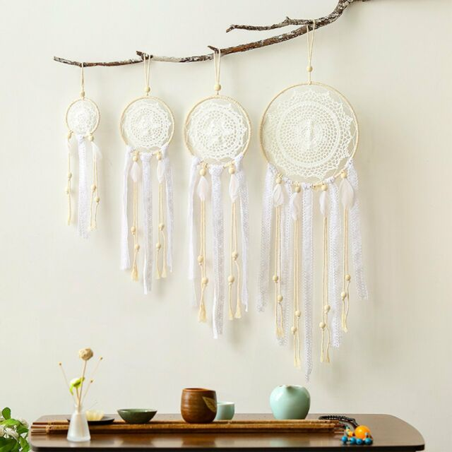 4 Pcs Boho Macrame White Feather Dream Catcher Wall Hanging Party Nursery Decor