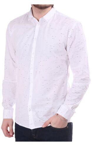 Men/'s Minimum Feroz Ls Shirt With Flecked Pattern Ivory