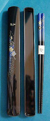 JapanBargain Japanese Blue Floral Chopsticks in Case