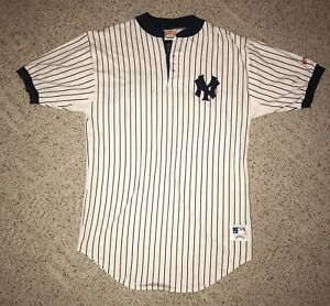 outlet store 9eebc 5dd5f Details about Vintage New York Yankees Pinstripe Nutmeg Baseball Home  Jersey Large 100% Cotton