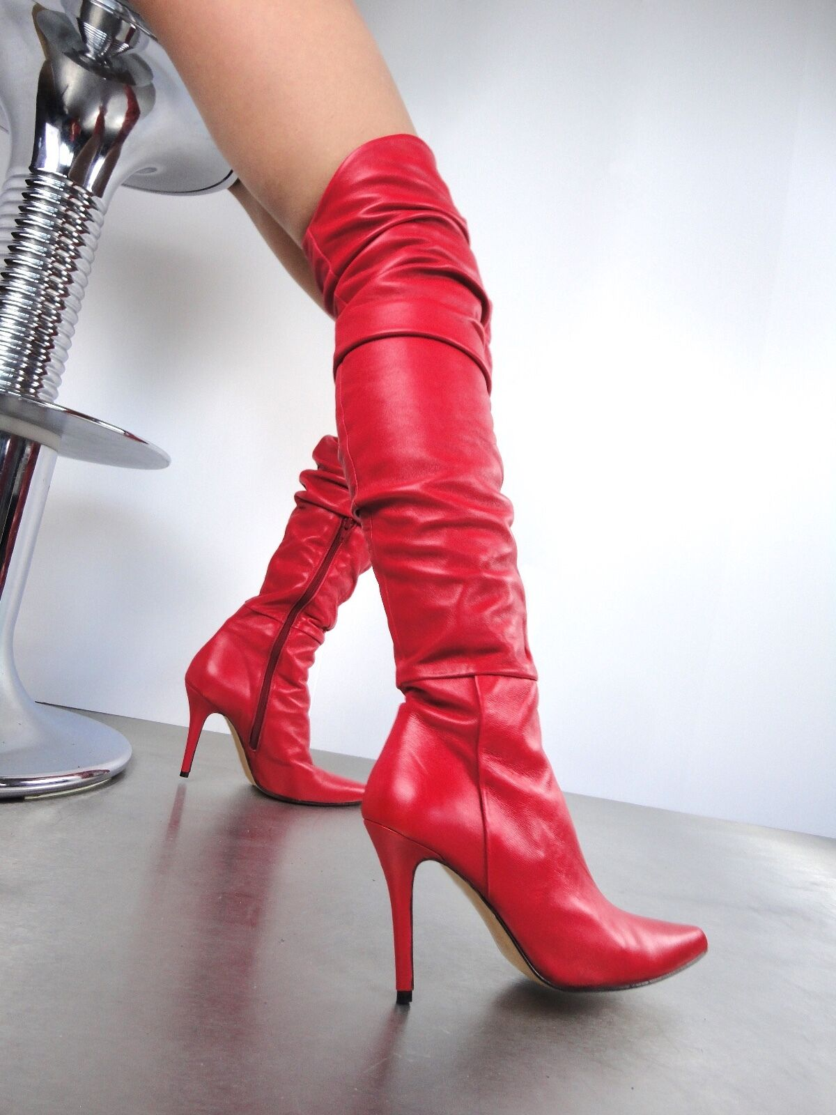 GIOHEL ITALY OVERKNEE HIGH HEELS BOOTS STIEFEL STIVALI REAL LEATHER RED ROSSO 37