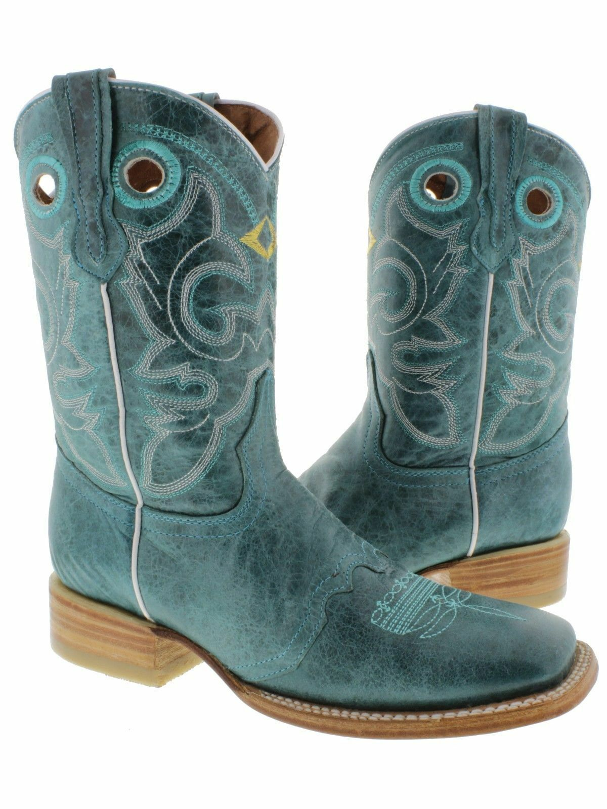 damen damen damen Turquoise Mid Calf Leather Pull On Cowboy Stiefel Riding Rodeo Square Toe 685e56