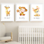 Safari-jungle-animaux-Nursery-Imprime-Set-de-3-Chambre-de-bebe-photos-Wall-Art-Decor miniature 7