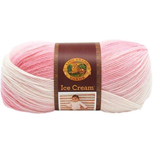 Lion Brand Yarn 100 Percent Acrylic Ice Cream Yarn, Strawberry - Yarn