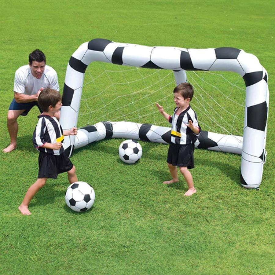 Kids Fútbol Inflable de tiro objetivo con rojo & 2 bolas actividad Juegos Al Aire Libre