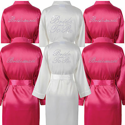 Kenntnisreich Bride To Be, Bridesmaid Robe Dressing Gown Diamante Satin Wedding Bridal Party
