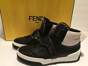 e454ed8a3d Details about Fendi Karlito High Top Sneakers Leather Pony Tail Studded  Black White 9 $1400