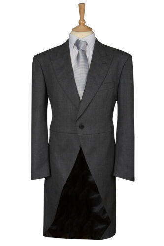 MENS MID GREY WOOL BLEND EX HIRE TAILCOAT WEDDING MORNING DRESS SUIT TAILS