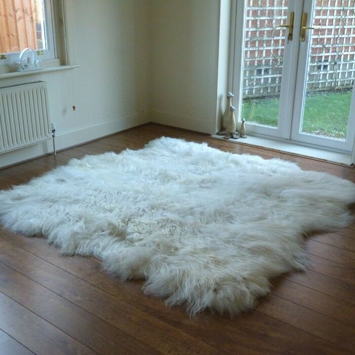 Sexto Naturale Islandese Pelle di Pecora Tappeto-Bianco in Montone-Long & Extra Morbida Lana