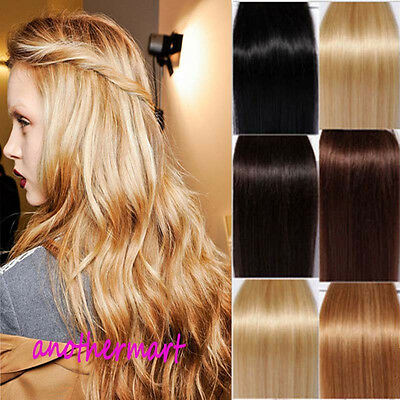 Premium Clip In 100% Real Remy Human Hair Extensions Full Head 7Pcs US STOCK P40