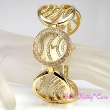 Gold Plated Designer Wide Wavy Cage Bars Dress Watch w/ Swarovski Crystals Bling
