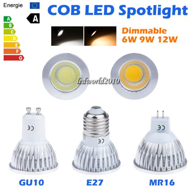 Luminaires Dimmable 6W 9W 12W MR16 E27 GU10 COB LED Spot Down Light Lampe Bulb