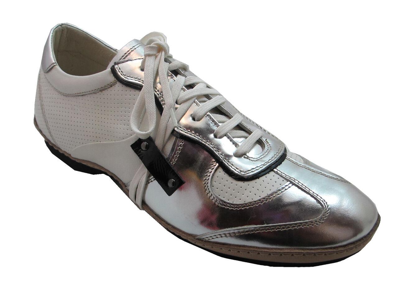 Frontiera 4395 Men's Fashion Italian sneakers white Silver, Black White