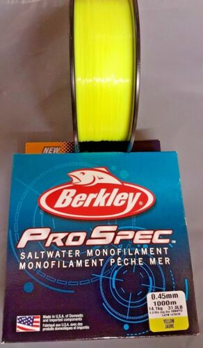 ALL B//S Berkley NEW Pro Spec Saltwater Monofilament Line YELLOW 1000m Spool