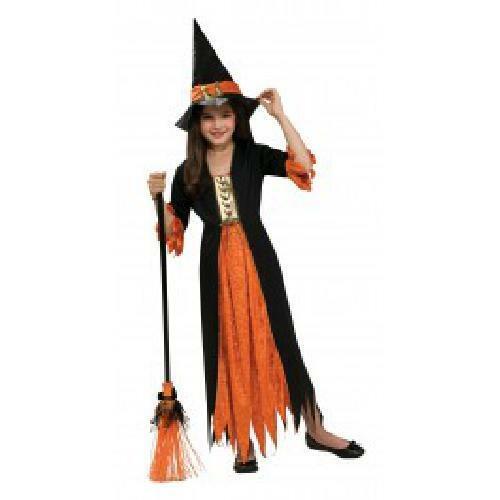 Orange Girl Gothic Witch Costume Kids Halloween Fancy Dress