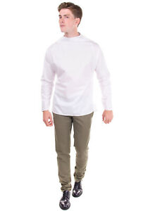 RRP €445 EMPORIO ARMANI Shirt Size L White Buttoned Long Sleeves Collarless