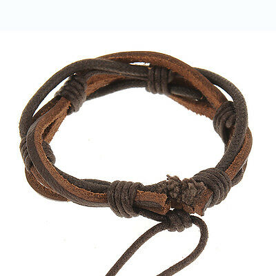 New Cool Adjustable Men's Hemp Surfer MultiWrap Genuine Leather Bracelet