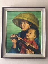 """Original Oil Painting Asian Woman & Baby Signed by Ming, Framed, 19 1/2"""" x 24"""""""