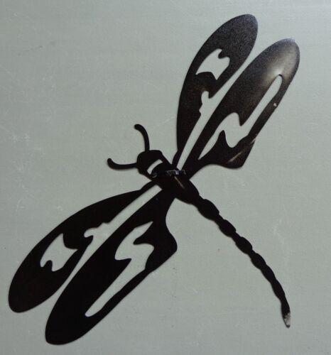 """Dragonfly Plasma Cut Metal Wall Art Black Hammered Finish 19-1//2/"""" W x 12/"""" T"""