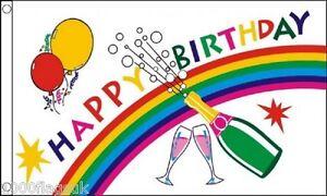 Militaria Vóór 1939 Happy Birthday Champagne Party Banner 5'x3' Flag
