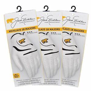 Jack Nicklaus 18 Majors Men's Golf Gloves - White - 3-PACK - Pick Size